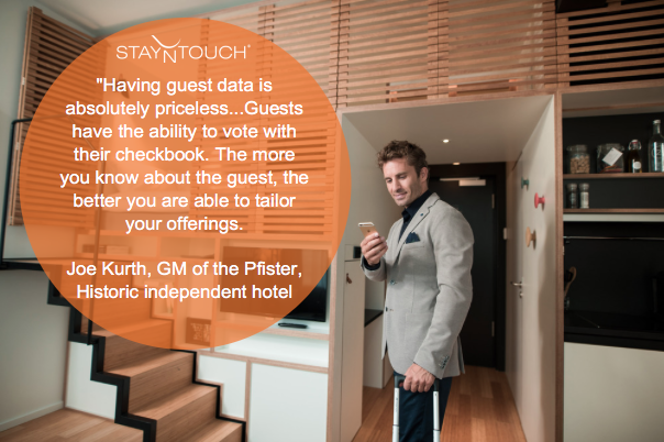Having guest data is priceless. Quote from Joe Kurth, GM of the Pfister historic independent hotel.