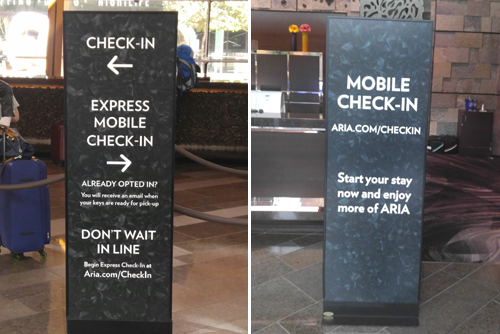 Aria uses mobile check in to allow their guests to walk in and bypass the front desk.