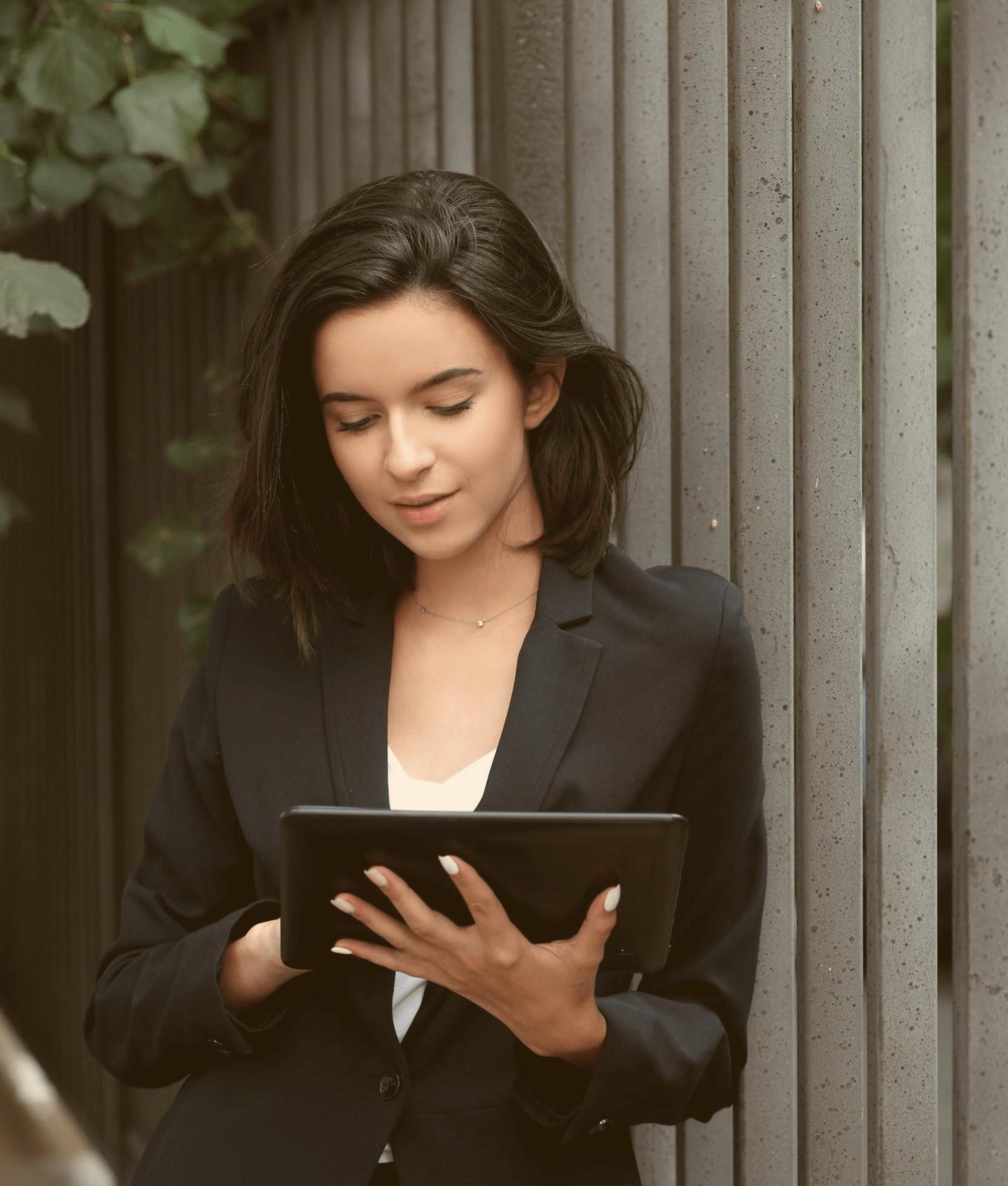 Woman with Cloud PMS iPad