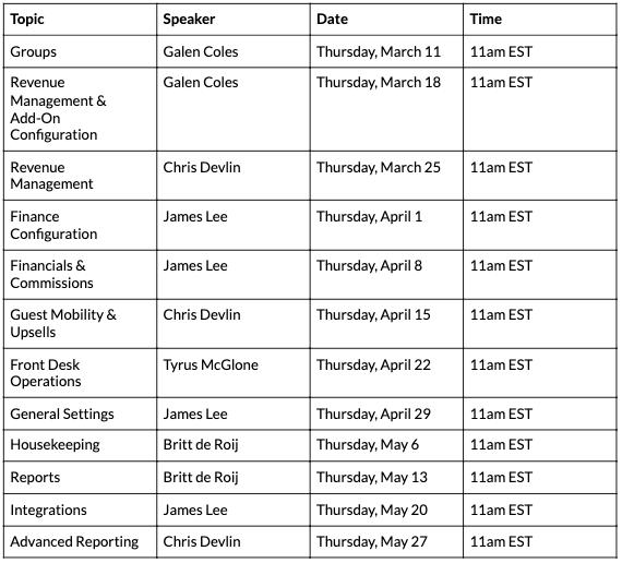 webinar training schedule 2021